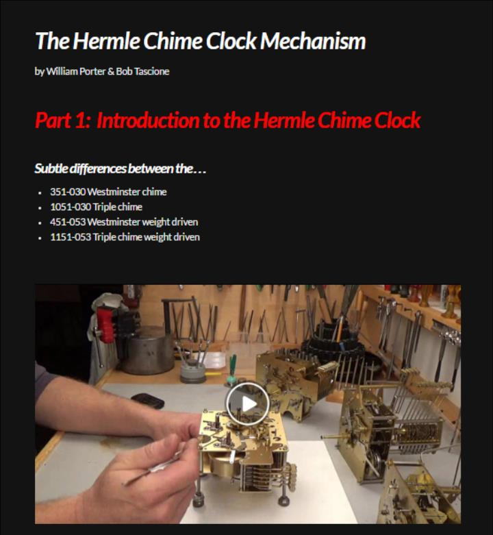 Hermle Clock Course Video 1